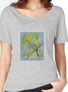 Tufted Titmouse in a Choke Cherry Tree Women's Relaxed Fit T-Shirt