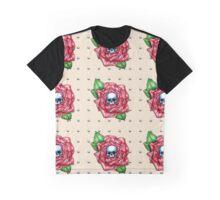 Skull Rose Peach pattern Graphic T-Shirt
