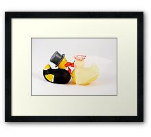 Wedding ducks in love! Framed Print