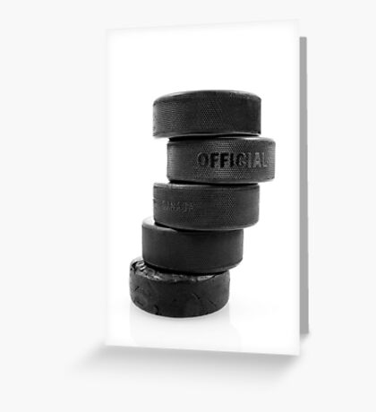 Official ice hockey pucks Greeting Card