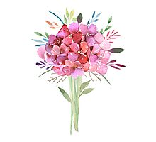 Pink Watercolor Bouquet of Flowers Photographic Print