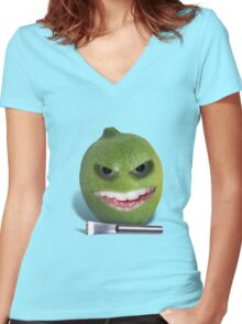 Beware the Lime with the Lemon Zester Women's Fitted V-Neck T-Shirt