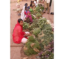 Selling vegetables, Badami, Kanartaka, India Photographic Print