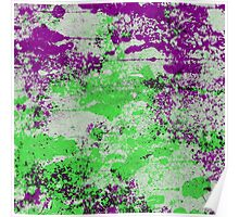 Purple Meets Green - Abstract Painting Poster