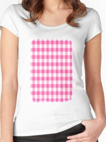 Pink Roses in Anzures 1 Gingham 2 Women's Fitted Scoop T-Shirt