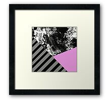 Mix Up - Abstract Black and White, block pink, balck and grey stripes Framed Print