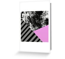 Mix Up - Abstract Black and White, block pink, balck and grey stripes Greeting Card