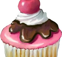Cupcake with Pink Icing, Chocolate, Cherry on Top by Joyce Geleynse