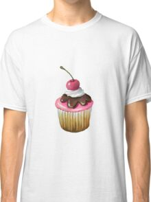 Cupcake with Pink Icing, Chocolate, Cherry on Top Classic T-Shirt