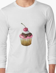Cupcake with Pink Icing, Chocolate, Cherry on Top Long Sleeve T-Shirt