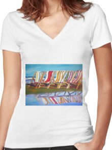 beach chairs  Women's Fitted V-Neck T-Shirt
