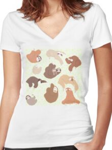 Sloth-mania Women's Fitted V-Neck T-Shirt