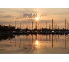 Of Yachts and Cormorants - A Golden Marina Morning Photographic Print