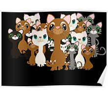 Herd of cats in black Poster