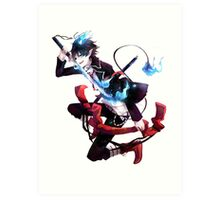 rin with his demon sword artistic style anime design Art Print