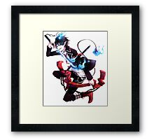 rin with his demon sword artistic style anime design Framed Print