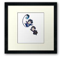 yuki reaching for rin chibi design Framed Print