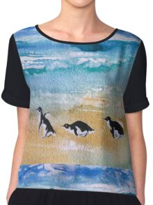 Three Little Penguins Out for a Stroll  Chiffon Top