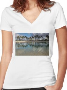 Palm Trees, Crystal Clear Lagoon Water and Tropical Fish Women's Fitted V-Neck T-Shirt