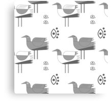 Decorative grey birds on white background Canvas Print
