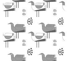 Decorative grey birds on white background Photographic Print