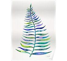Indigo Palm Leaf Poster