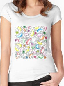 Painted Paisley and Whimsical Flowers  Women's Fitted Scoop T-Shirt