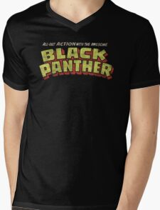 Black Panther - Classic Title - Dirty Mens V-Neck T-Shirt