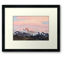 Mountains and Sunset Framed Print