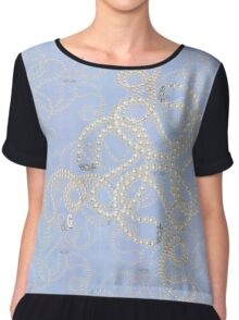 """Cultured Pearls and Blue Oxford""© Women's Chiffon Top"
