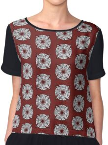 Red Celtic Knot Doodle Chiffon Top