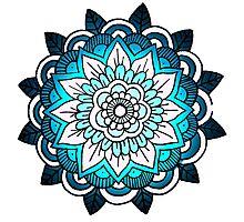 mandala: bright blue Photographic Print