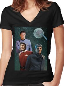 Three Spock Moon Women's Fitted V-Neck T-Shirt