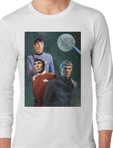Three Spock Moon Long Sleeve T-Shirt