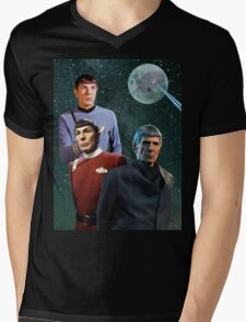 Three Spock Moon Mens V-Neck T-Shirt