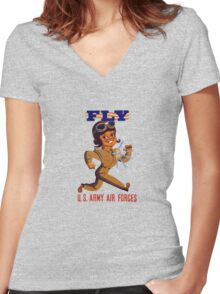 Fly Army Air Forces - WW2 Women's Fitted V-Neck T-Shirt