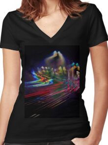 Walking The Roads Alone Women's Fitted V-Neck T-Shirt