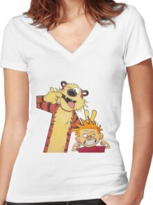 calvin and hobbes mocking Women's Fitted V-Neck T-Shirt