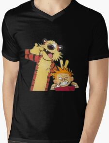 calvin and hobbes mocking Mens V-Neck T-Shirt