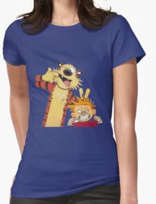 calvin and hobbes mocking Womens Fitted T-Shirt