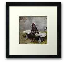 """""""Mary"""" on a bench with a pipe, ca 1940 Framed Print"""