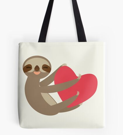 Sloth sitting with a heart Tote Bag