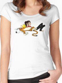 Calvin And Hobbes : Sleepy Time Women's Fitted Scoop T-Shirt