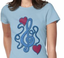 Blue My Heart's Plugged In To Music Womens Fitted T-Shirt