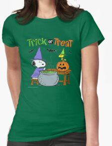 Snoopy Trick Or Treat Womens Fitted T-Shirt