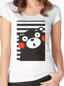 Japan Anime Kumamon Bear Animal Women's Fitted Scoop T-Shirt