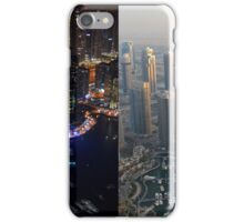 Photography of tall buildings, skyscrapers from Dubai, daytime and at night. United Arab Emirates. iPhone Case/Skin