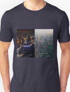 Photography of tall buildings, skyscrapers from Dubai, daytime and at night. United Arab Emirates. T-Shirt