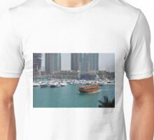 Photography of tall buildings, skyscrapers from Dubai and wooden boat crossing the water. United Arab Emirates. Unisex T-Shirt