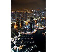 Photography of tall buildings, skyscrapers from Dubai at night. United Arab Emirates. Photographic Print